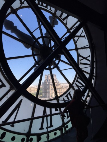 View of Notre Dame through the clock tower window in Musee d' Orsay