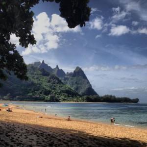 The famous Bali Hai peninsula, called Maka Mountain by Hawaiians